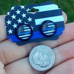 Thin Blue Line Earrings - Police Earrings LEO